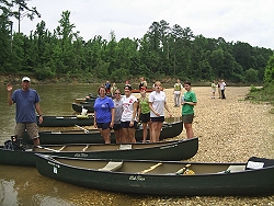 Dr. Wilson and Judson students on the Cahaba