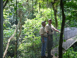 Thomas and Ray Wilson at Hanging Bridge, Arenal