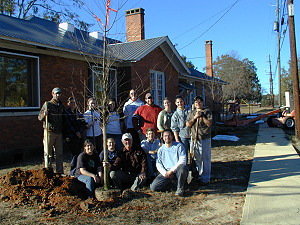 Judson College Earth Team planting trees