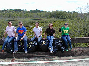 Judson College Botany class on litter patrol at Golden Club Swamp, 2006