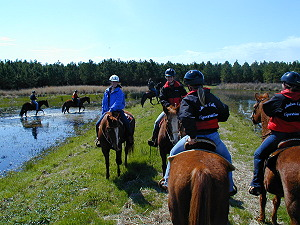 Riders on trail beside one of many lakes