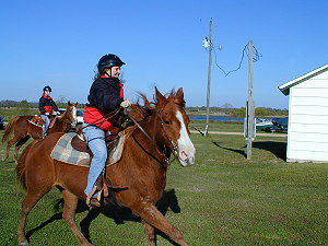 Stephanie Taylar wins a race on the trail ride